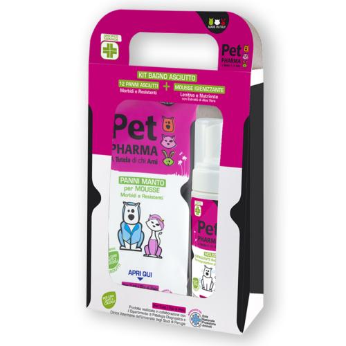Pet in PHARMA Kit Bagno Asciutto 12 panni + 1 Mousse Igienizzante