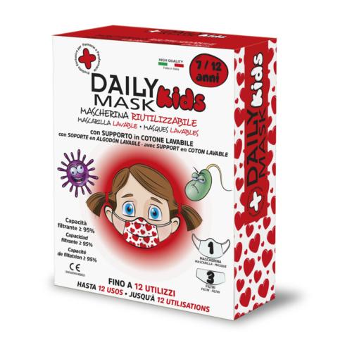 Daily Mask Kids MASCHERINA RIUTILIZZABILE con supporto in cotone lavabile